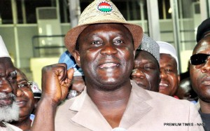 PIC. 5. THE NEWLY ELECTED NLC PRESIDENT, COMRADE AYUBA WABBA, GIVING HIS ACCEPTANCE SPEECH AT THE 11TH NLC DELEGATES CONFERENCE IN ABUJA ON SATURDAY (14/3/15). 1347/14/3/2015/OTU/BJO/NAN