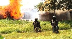 Nigeria Soldiers in a gun fire battle with Boko Haram