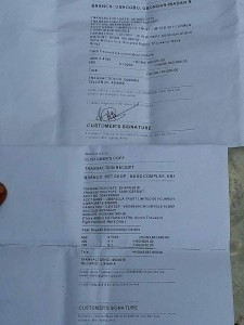 Receipt of the N9.1m three years annual due paid by the Dr Faforiji's camp.