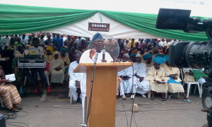 the former Commissioner for Industries, Commerce, Cooperatives and Empowerment, Mr. Ismaila Adekunle Jayeoba-Alagbada addressing people at the event.