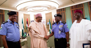 Pres. Buhari, outgoing IGP Solomon Arase, Chief of Staff Abba Kyari and new Acting Inspector General of Police Mr Ibrahim Kpotun Idris