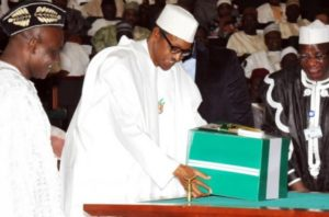 President Buhari presenting 2016 budget at the National Assembly.