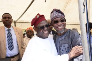 Chief Bisi Akande and Aregbesola in a joyous mood at the programme.