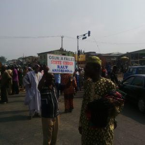Osun pensioners during the protest at Olaiya, Osogbo.