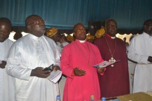 Most Rev Ogunsinmi and other Ministers of God of UCSC, Owo officiating at the burial