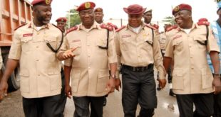 PIC.17. FROM LEFT: ZONAL  COMMANDING OFFICER, RS2HQ FEDERAL ROAD SAFETY COMMISSION, MR   DEMOLA  LAWAL; DEPUTY CORPS MARSHAL (OPERATIONS), MR BOBOYE OYEYEMI;  LAGOS STATE   SECTOR  COMMANDER, MR NSEOBONG AKPABIO, AND HEAD OF SERVICE, NATIONAL UNIFORM   LICENSING  SCHEME, MR HYGINUS FUOMSUK,  DURING THE  OPENING OF THE SPECIAL  ZONAL   OPERATORS MEETING IN LAGOS ON FRIDAY (22/06/12).