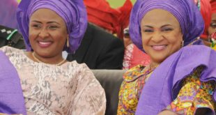 PIC. 37. WIFE OF THE PRESIDENT, MRS AISHA BUHARI (L) AND WIFE OF OYO STATE GOVERNOR, MRS FLORENCE AJIMOBI, AT THE FREE HEALTH SCREENING PROGRAMME FOR WOMEN ORGANISED BY FUTURE ASSURED INITIATIVE (MRS BUHARI'S PET PROJECT), IN IBADAN ON THURSDAY (28/4/16). 3239/28/4.2016/OEA/BJO/NAN