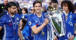 Chelsea Players Lifting the Premier League Trophy on Sunday