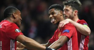 Man United Players Celebrate As Rashford Scores Winner Against Anderlecht on Thursday Night