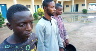 The suspected killers with the clay pot used to roa Timileyin's head