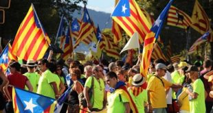 Barelona, Spain - September 11, 2017: Catalan independentists participating at a rally for the independence of Catalonia