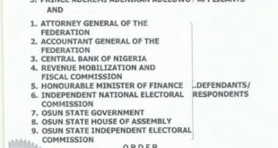 Read Certified True Copy of Court Ruling that Stopped Osun LG Election