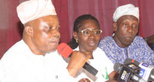 L-R: Commissioner for Sports, Osun State, Mr. Biyi Odunlade; Race Director, Ile Ife Heritage Marathon, Mrs. Adedayo Akinbode; and Chairman, Osun State Athletic Association, Mr. Ademola Adigun, during a press conference on the Ile Ife Heritage Marathon in Osogbo, Osun State ... on Thursday.