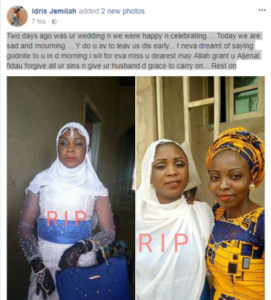 Lady dies two day after marriage