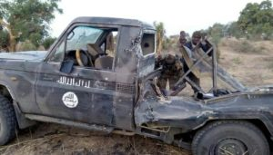 The terrorists' vehicle which was destroyed by the army. Photo: Nigerian Army