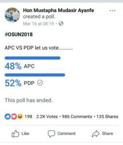 APC PDP online poll result