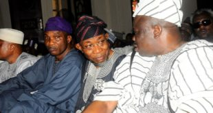 Governor State of Osun, Ogbeni Rauf Aregbesola (middle); the Olofa of offa Kingdom Oba Mufutau Muhammed Gbadamosi (right); Secretary to the State Government, Alhaji Moshood Adeoti (left), during a visit to Commensurate with the monarch and Mourns victims of Offa arm Robbery attack in Offa, in the palace, Offa on Friday 13-4-2018.
