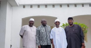 L-R: Speaker, Osun state House of Assembly, Lagos State Governor, Akinwumi Ambode, Governor Rauf Aregbesola of Osun state and APC Chairman in Osun, Prince Gboyega Famodun in pix after the meeting
